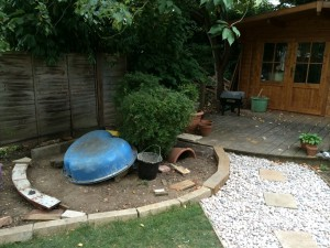 Photo of the garden with path and trackbase